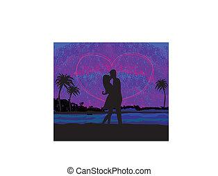 spiaggia, bacio, agganciare tramonto, circa, romantico