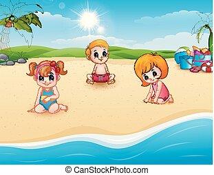 spiaggia, bambini giocando