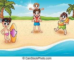 spiaggia, bambini, vacanza