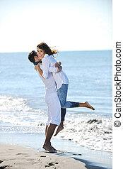 spiaggia, bello, felice, divertimento, coppia, possedere, giovane