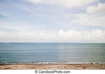 spiaggia, blu, cielo nuvoloso, mare, oceano