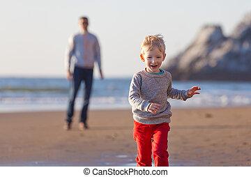 spiaggia, california, famiglia
