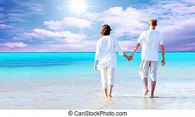 spiaggia, camminare, coppia, hands., presa a terra, vista posteriore