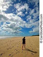 spiaggia, camminare, donna, solo