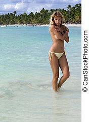 spiaggia, caraibico, donna, proposta, sexy