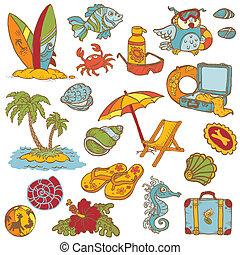 spiaggia, -, collezione, mano, vettore, doodles, disegnato