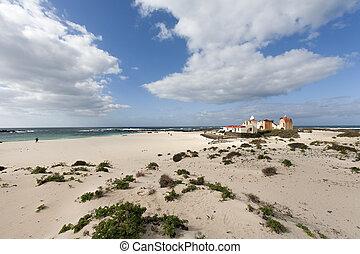 spiaggia, con, idilliaco, case