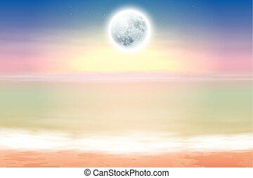 spiaggia, con, luna piena, notte