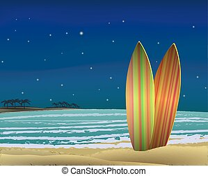spiaggia, con, surf imbarca, a, night., vector.
