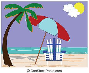 spiaggia, concpt, con, palme