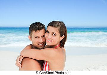 spiaggia, coppia, bello