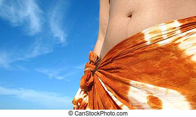 spiaggia, donna