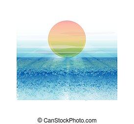 spiaggia, e, sfondo sole