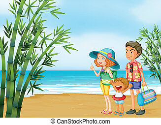 spiaggia, famiglia, felice