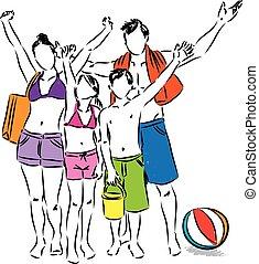 spiaggia, famiglia, illustrazione