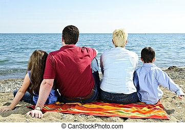 spiaggia, famiglia, seduta