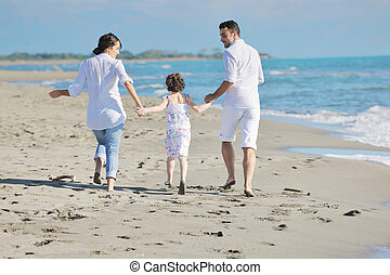 spiaggia, felice, giovane, divertimento, famiglia, possedere