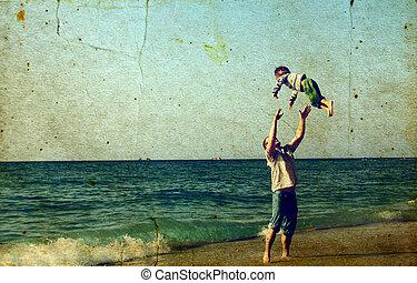 spiaggia, felice, padre, figlio