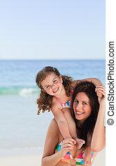 spiaggia, figlia, gioco, lei, madre