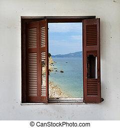 spiaggia, finestra, attraverso, paesaggio, rotto