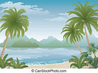 spiaggia, fiori, palma, montagne, oceano