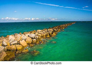 spiaggia, florida., miami, molo, oceano, atlantico