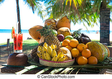 spiaggia, fondo, cocktail, offuscamento