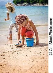 spiaggia, gioco, bambino