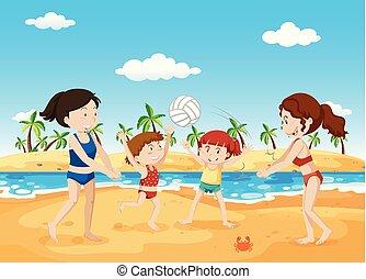 spiaggia, gioco volleyball, persone