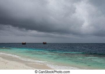 spiaggia, giorno, nuvoloso, oceano