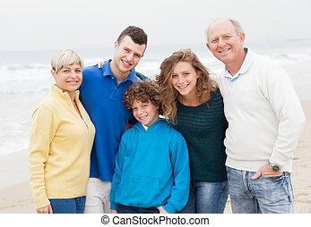 spiaggia, godere, famiglia fine settimana
