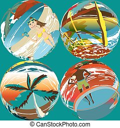 spiaggia, il bagnarsi, ombrelli, colorito, persone colorano, modello, astratto, seamless, illustrazione, tessile, albero, vettore, palma, suits.