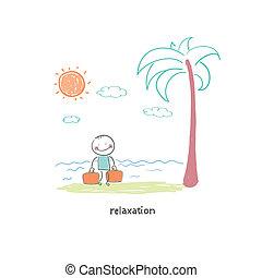 spiaggia., illustration., came, uomo