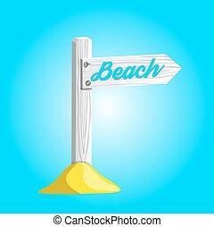 spiaggia., indicare, legno, segno, vettore, bianco