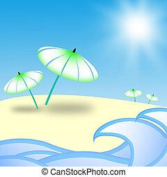 spiaggia, isola, -, fondo.
