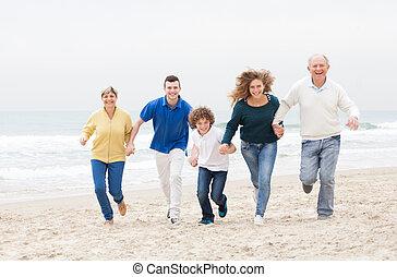 spiaggia, jugging, famiglia, felice