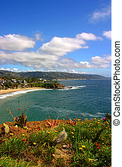spiaggia laguna, mezzaluna, verticale, baia