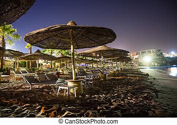 spiaggia, mar rosso, notte