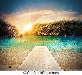 spiaggia, molo