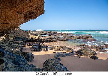 spiaggia, natale, kwazulu, umdloti, africa, sud