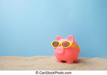 spiaggia, occhiali da sole, banca piggy