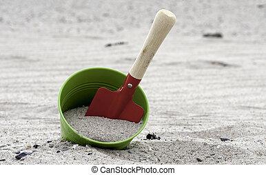 spiaggia, pala, secchio