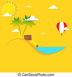 spiaggia, palmizi