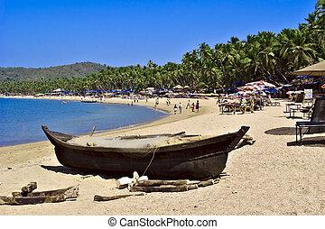 spiaggia palolem, peschereccio, vista