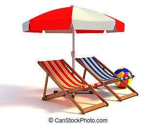 spiaggia, parasole, sotto, sedie, due