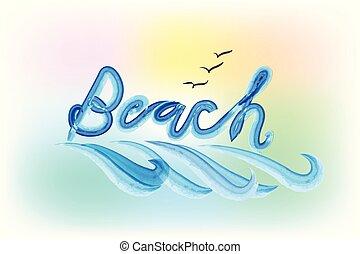 spiaggia, parola, e, onde, fondo, sagoma