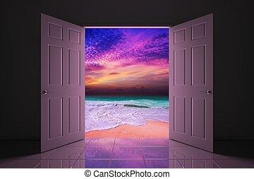 spiaggia, porta, tramonto, tuo