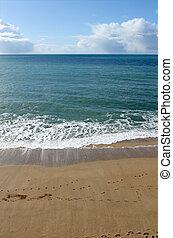 spiaggia, porthleven, shoreline, cornwall, uk.