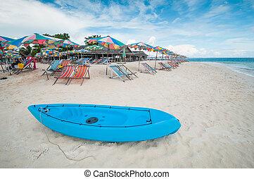 spiaggia, posto, ombrello, barca, canoa