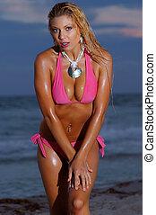 spiaggia, ragazza, bikini, bello